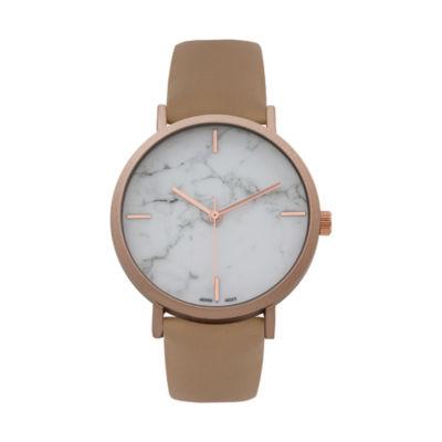 Geneva Platinum Marble Dial Womens Brown Strap Watch-10090