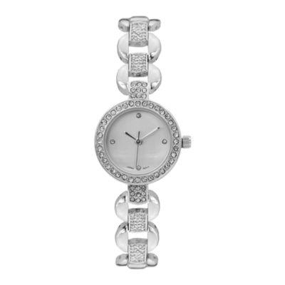 Geneva Platinum Womens Silver Tone Bracelet Watch-15177