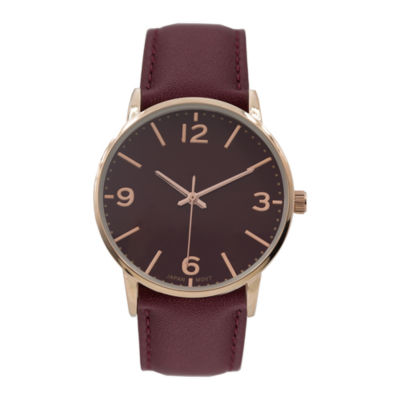 Geneva Platinum Womens Red Strap Watch-15180