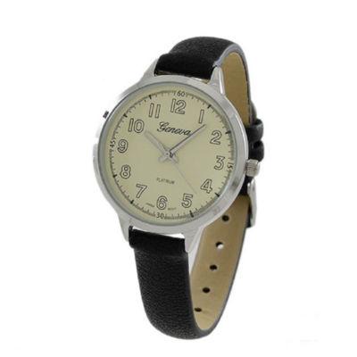 Geneva Platinum Womens Black Strap Watch-5979