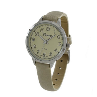 Geneva Platinum Womens White Strap Watch-5979
