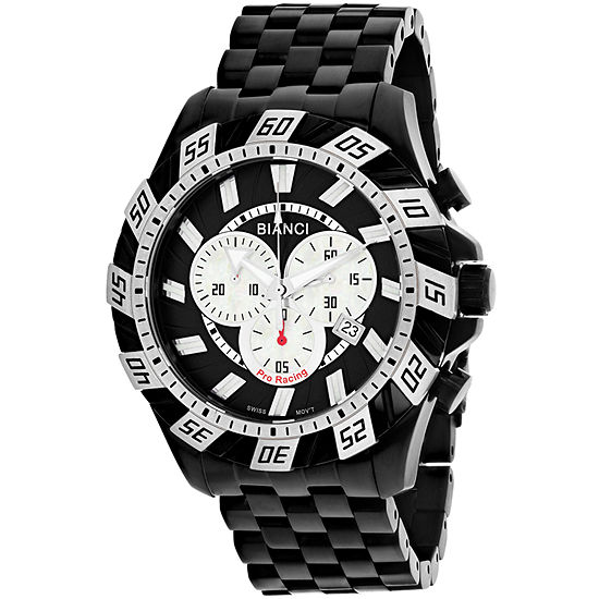 Roberto Bianci Mens Black Stainless Steel Bracelet Watch-Rb70603