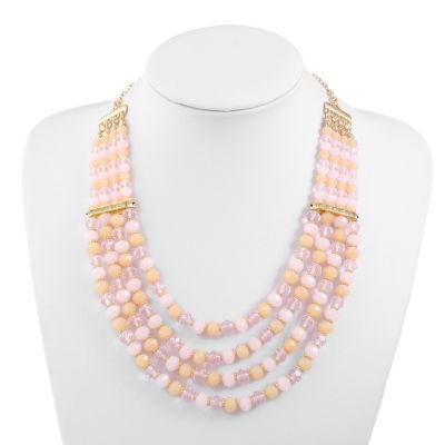 Liz Claiborne Womens White Beaded Necklace