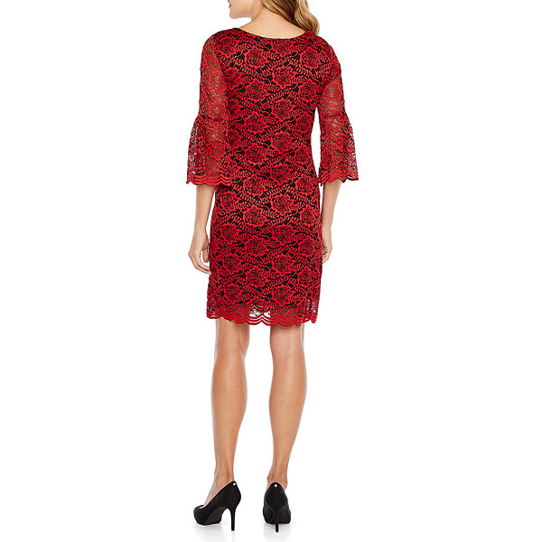 Robbie Bee 3/4 Bell Sleeve Lace Floral Shift Dress