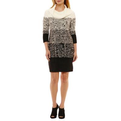 Studio 1 3/4 Sleeve Sweater Dress-Petites