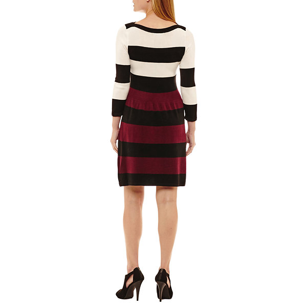 Studio 1 3/4 Sleeve Sweater Dress-Petites