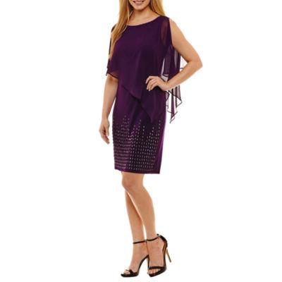 Scarlett Sleeveless Beaded Sheath Dress-Petites