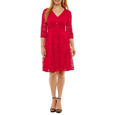 Perceptions 3/4 Sleeve Empire Waist Dress-Petites