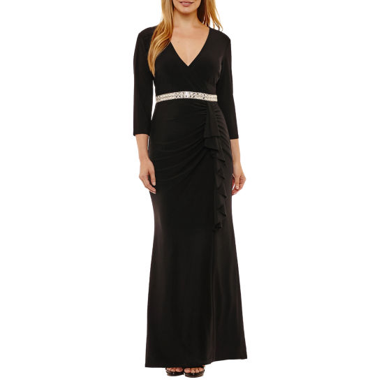 Blu Sage 3/4 Sleeve Evening Gown - Petites