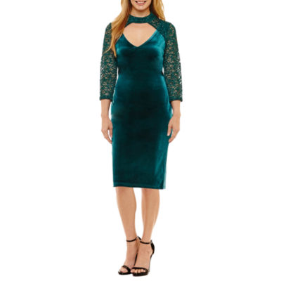 Blu Sage 3/4 Sleeve Party Dress - Petites