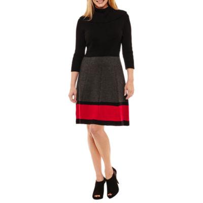 Ronni Nicole 3/4 Sleeve Fit & Flare Dress-Petites