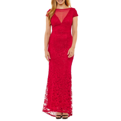 Blu Sage Short Sleeve Evening Gown - Petites