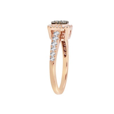 Womens 3/4 CT. T.W. Genuine Champagne Diamond 14K Gold Halo Ring