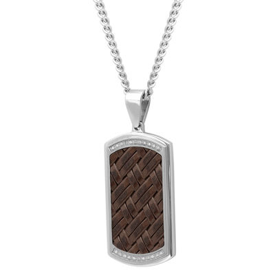 Mens 1/7 CT. T.W. Genuine White Diamond Stainless Steel Dog Tag Pendant Necklace