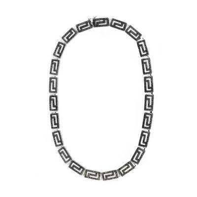 Sterling Silver Greek Key Necklace featuring Swarovski Marcasite