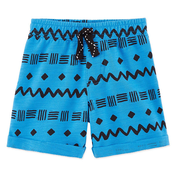 Okie Dokie Printed Pull-On French Terry Shorts - Baby Boy NB-24M