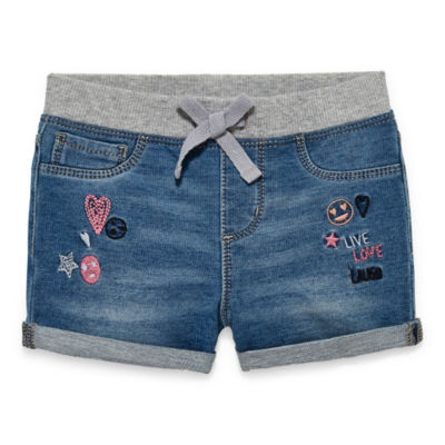 Okie Dokie Embroidered Denim Short - Baby Girls NB-24M