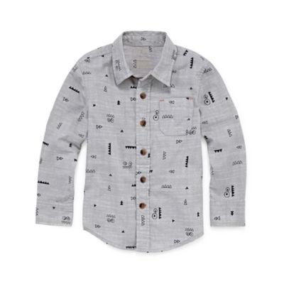 Okie Dokie Long Sleeve Button-Woven Shirt Boys