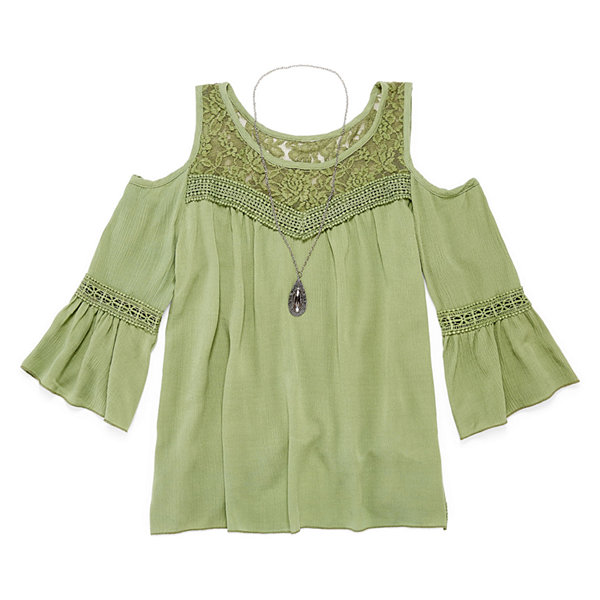 Arizona Cold Shoulder Woven w/ Necklace - Girls' 7-16 and Plus