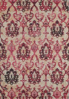 Rugs America Beverly Ivory Fuchsia Ikat Rug