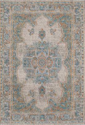 Rugs America Beverly Ivory Blue Oriental Rug