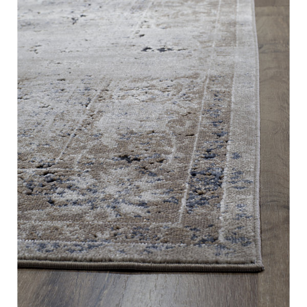 Rugs America Cambridge Tan Navy Abstract Rug