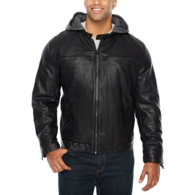 Levi's Rugged Faux Leather Hooded Racer-Big and Tall