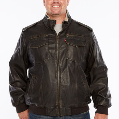 Levi's Faux Leather Sherpa Lined Bomber Jacket-Big and Tall