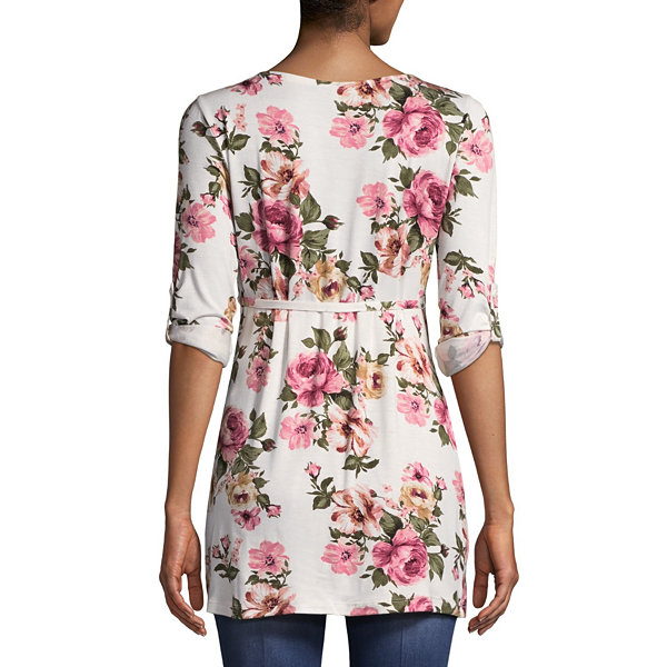 Planet Motherhood 3/4 Sleeve Scoop Neck Jersey Floral Blouse-Maternity
