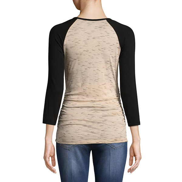 Planet Motherhood 3/4 Sleeve Scoop Neck T-Shirt-Womens Maternity