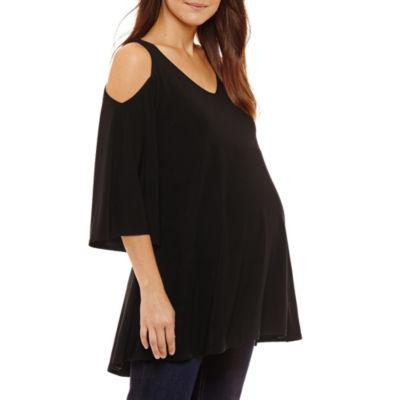 Tiana B 3/4 Sleeve V Neck Jersey Blouse - Maternity