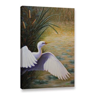 Brushstone Egret Taking Flight Gallery Wrapped Canvas Wall Art