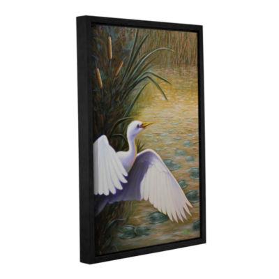 Brushstone Egret Taking Flight Gallery Wrapped Floater-Framed Canvas Wall Art