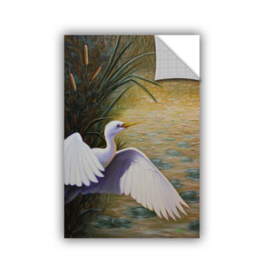 Brushstone Egret Taking Flight Removable Wall Decal