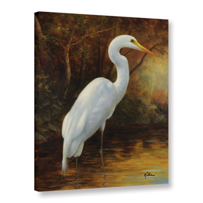 Brushstone Evening Egret II Gallery Wrapped CanvasWall Art