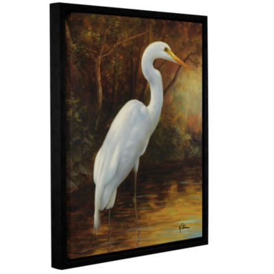 Brushstone Evening Egret II Gallery Wrapped Floater-Framed Canvas Wall Art