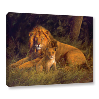 Brushstone Lion And Cub Gallery Wrapped Canvas Wall Art