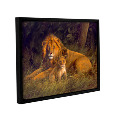 Brushstone Lion And Cub Gallery Wrapped Floater-Framed Canvas Wall Art