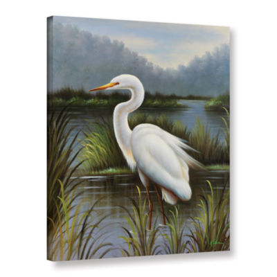 Brushstone Morning Egret Gallery Wrapped Canvas Wall Art