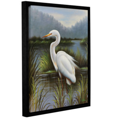 Brushstone Morning Egret Gallery Wrapped Floater-Framed Canvas Wall Art