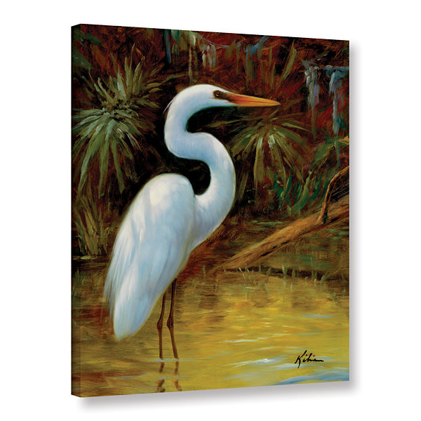 Brushstone Tropical Egret I Gallery Wrapped CanvasWall Art