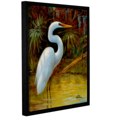 Brushstone Tropical Egret I Gallery Wrapped Floater-Framed Canvas Wall Art