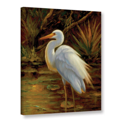 Brushstone Tropical Egret II Gallery Wrapped Canvas Wall Art