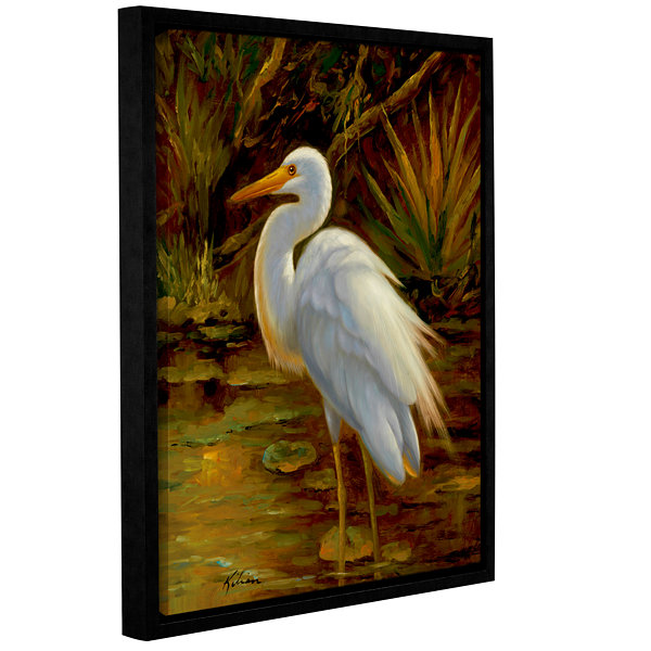 Brushstone Tropical Egret II Gallery Wrapped Floater-Framed Canvas Wall Art