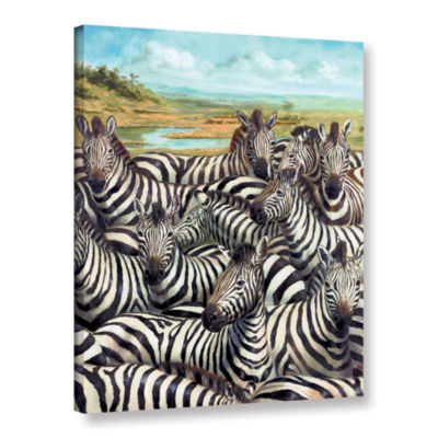 Brushstone Zebra GaThering Gallery Wrapped CanvasWall Art