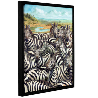 Brushstone Zebra GaThering Gallery Wrapped Floater-Framed Canvas Wall Art