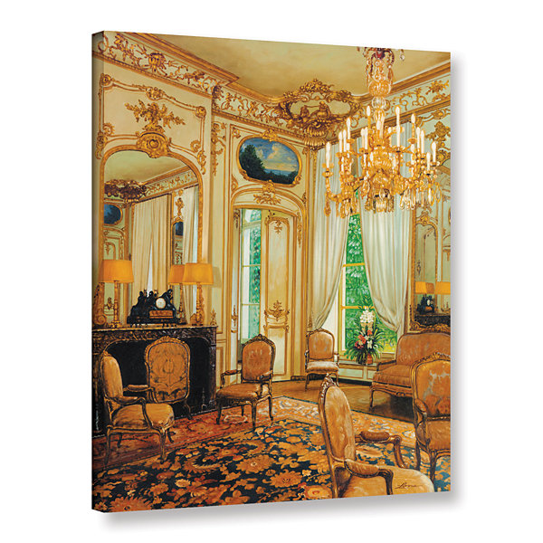 Brushstone Gold Sitting Room Gallery Wrapped Canvas Wall Art