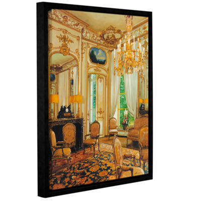Brushstone Gold Sitting Room Gallery Wrapped Floater-Framed Canvas Wall Art