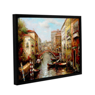 Brushstone Bridge Of The Gondola Gallery Wrapped Floater-Framed Canvas Wall Art
