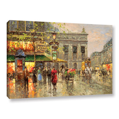 Brushstone Vintage Parisian Street Gallery WrappedCanvas Wall Art